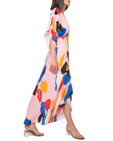 Image 4 of 4: Jaline Katherine Abstract High-Low Maxi Dress