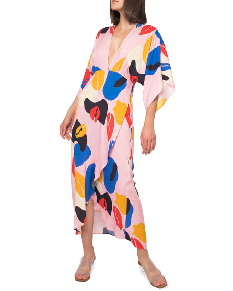 Image 1 of 4: Jaline Katherine Abstract High-Low Maxi Dress
