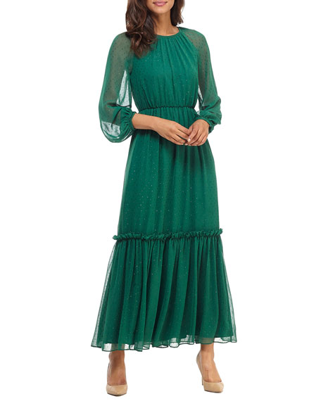 Gal Meets Glam Collection Jewel Clip Chiffon Tiered Maxi Dress