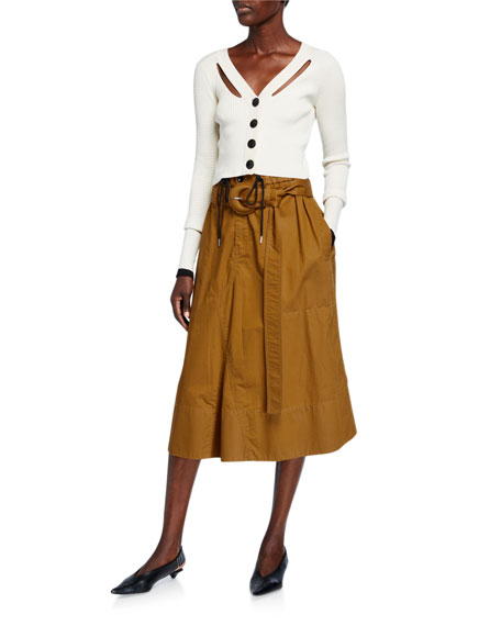 Image 3 of 3: Proenza Schouler White Label Belted Drawstring Cotton Skirt