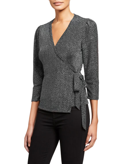 Image 1 of 2: PAIGE Jasper Metallic 3/4-Sleeve Wrap Top