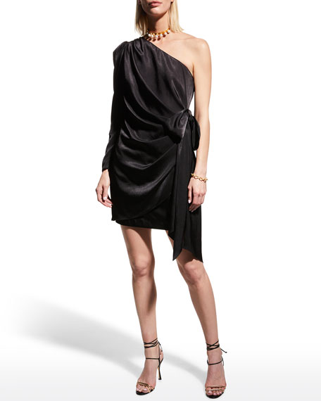 Image 2 of 3: Aidan by Aidan Mattox Draped Charmeuse One-Shoulder Wrapped Cocktail Dress