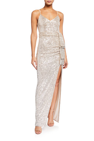 Likely Emile Sequin Slip Gown with Side Drape Detail