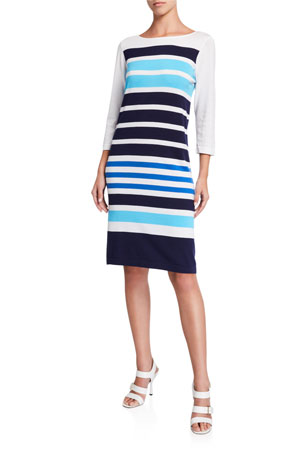 Joan Vass Striped Sweater Dress