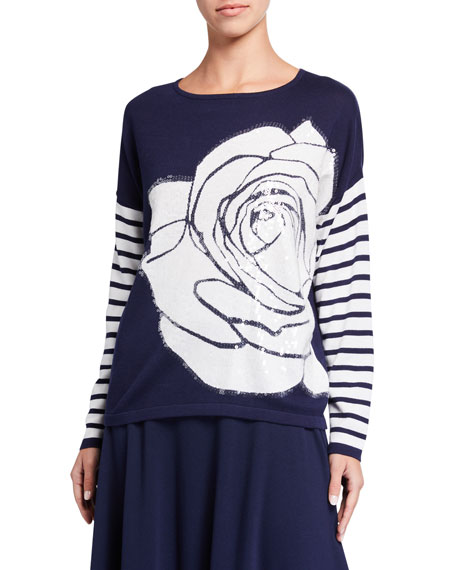 Joan Vass Plus Size Rose Intarsia Striped Sleeve Sweater