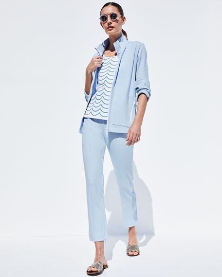 Joan Vass Plus Size Stitched Seam Ankle Pants
