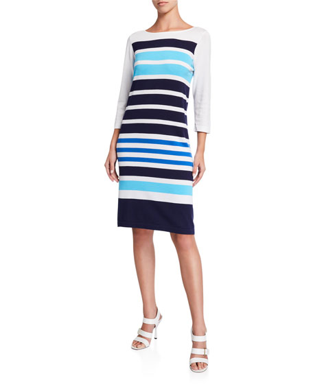 Joan Vass Plus Size Striped Sweater Dress