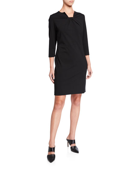 Misook Petite Ruched Square-Neck 3/4-Sleeve Ponte Dress