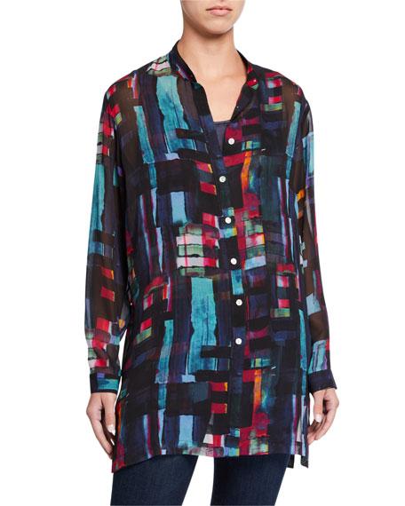 Go Silk Bright Lights Printed Silk Mandarin-Collar Tunic
