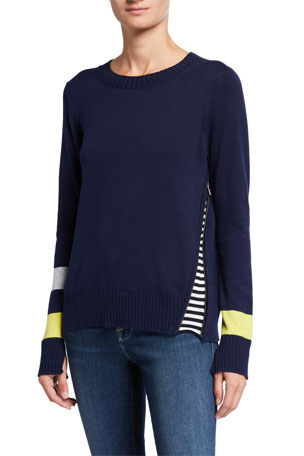 Lisa Todd Petite Sneak Attack Striped-Sleeve Zip Inset Sweater