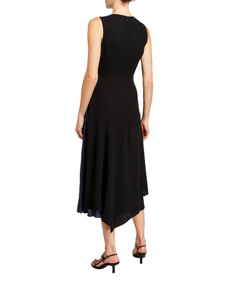 Image 3 of 3: Vince Mixed Panel Sleeveless Midi Dress
