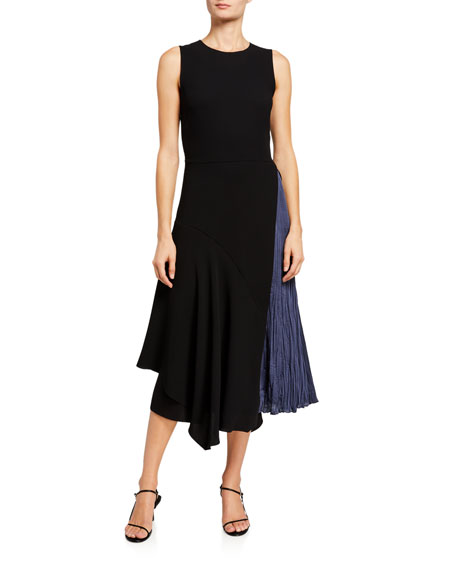 Image 1 of 3: Vince Mixed Panel Sleeveless Midi Dress