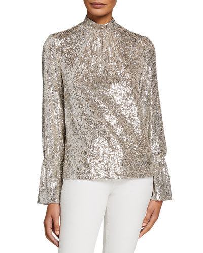 Tummy Sequined High-Neck Long-Sleeve Top