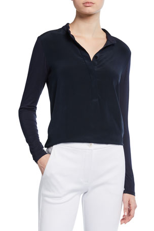 Max Mara Leisure Button-Front Long-Sleeve Top