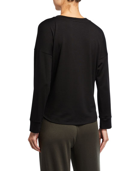 Eileen Fisher Crewneck Long-Sleeve Curved Hem Stretch Terry Top