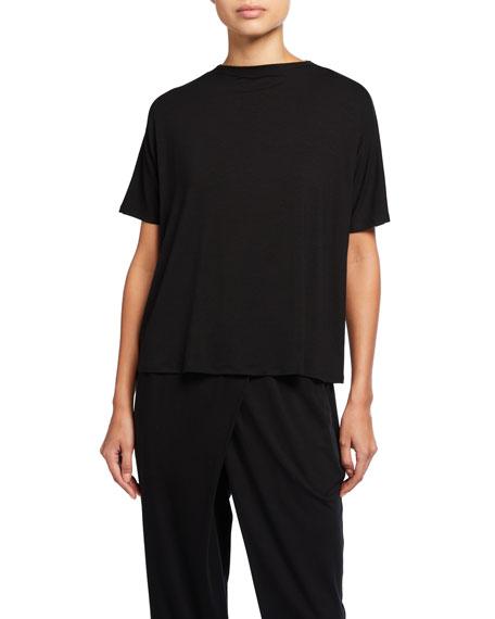 Eileen Fisher Mock-Neck Short-Sleeve Fine Lyocell Jersey Top