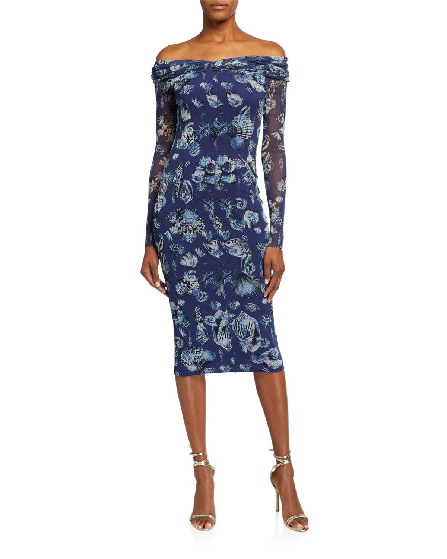 Fuzzi Seashell Long-Sleeve Portrait Collar Dress