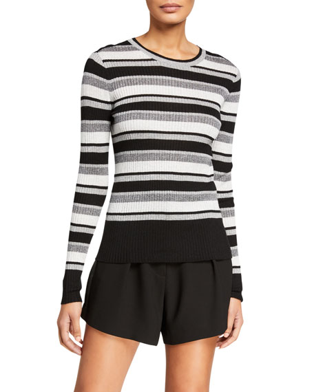 Image 2 of 3: FRAME Panel-Stripe Metallic Ribbed Pullover Sweater