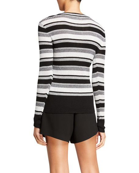 Image 3 of 3: FRAME Panel-Stripe Metallic Ribbed Pullover Sweater