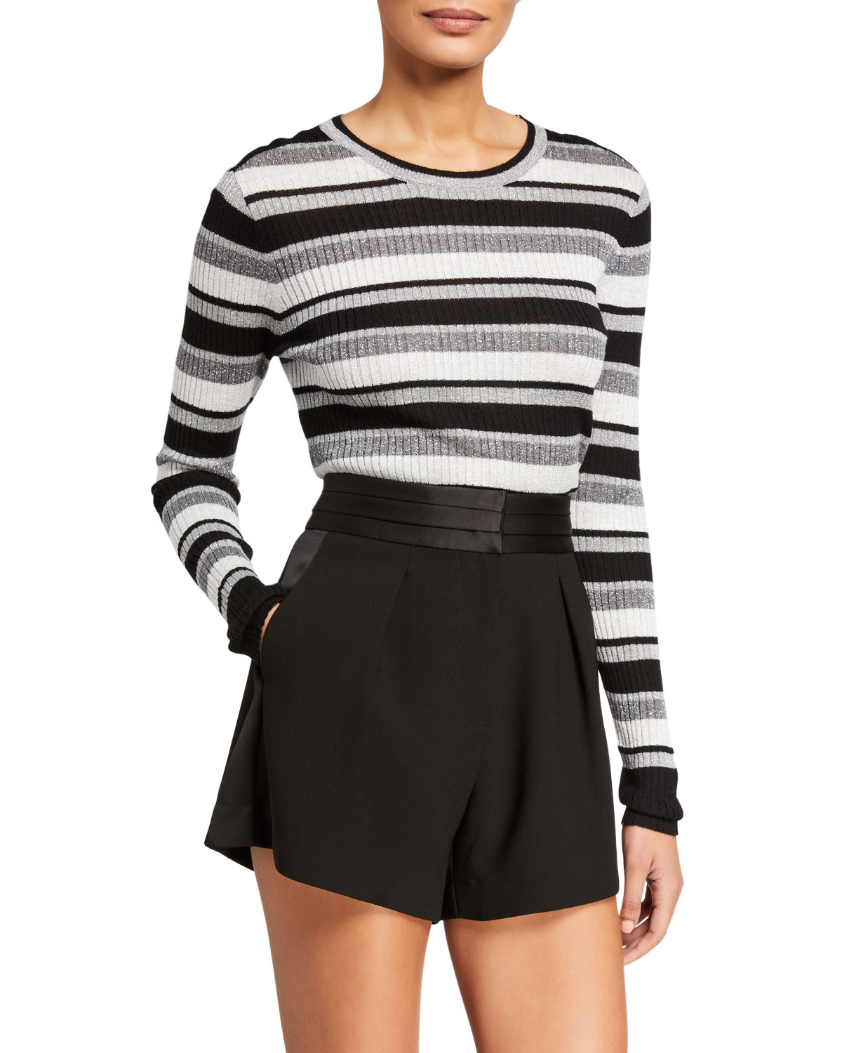 FRAME Panel-Stripe Metallic Ribbed Pullover Sweater