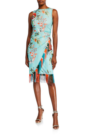 Fuzzi Floral Sleeveless Faux Wrap Fringe-Trim Dress