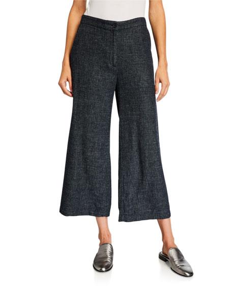 Eileen Fisher Petite Tweedy Hemp/Cotton Wide-Leg Crop Pants