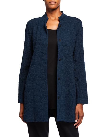 Eileen Fisher Petite Jacquard Knit Button-Front Stand-Collar Jacket