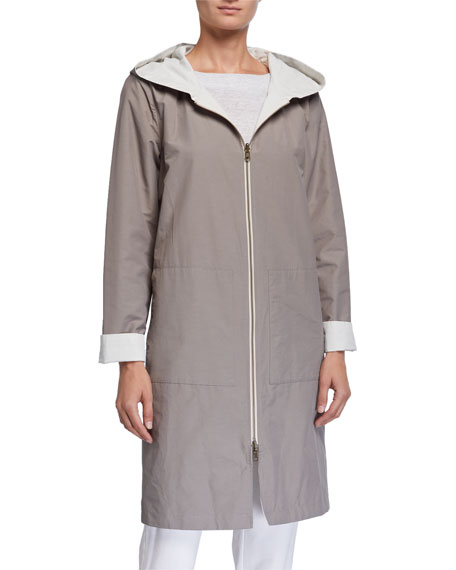 Eileen Fisher Plus Size Reversible Hooded Cotton/Nylon Jacket