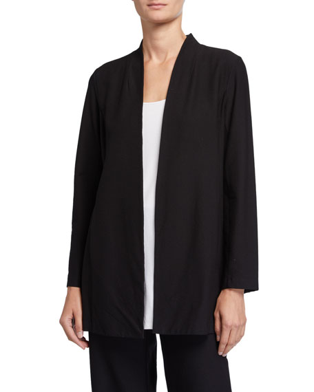Eileen Fisher Plus Size Washable Stretch Crepe Long Jacket