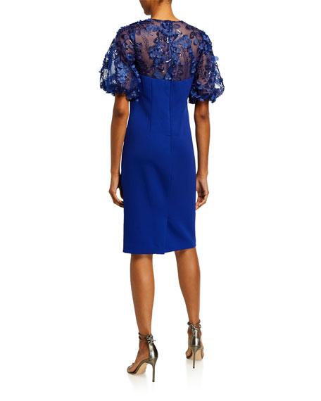 Carmen Marc Valvo Infusion 3D Embellished Puff-Sleeve Crepe Sheath Dress
