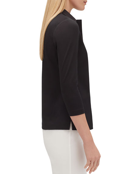 Lafayette 148 New York Plus Size Magda 3/4-Sleeve Top w/ Woven Combo
