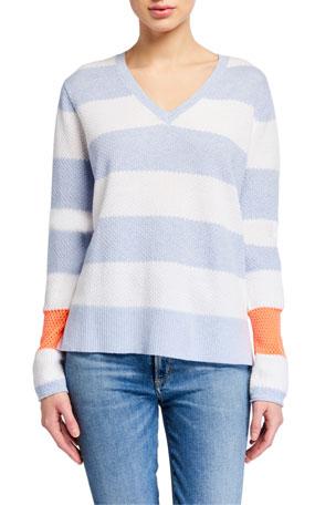 Lisa Todd Petite Stripe Hype Lyte V-Neck Cotton Sweater