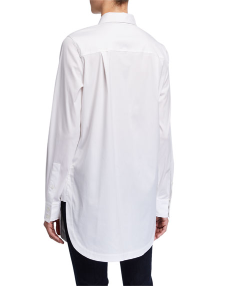 Lafayette 148 New York Plus Size Michelle Italian Stretch Cotton Button-Down Blouse