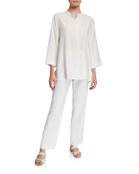 Natori Sanded Twill Button-Front Easy Tunic