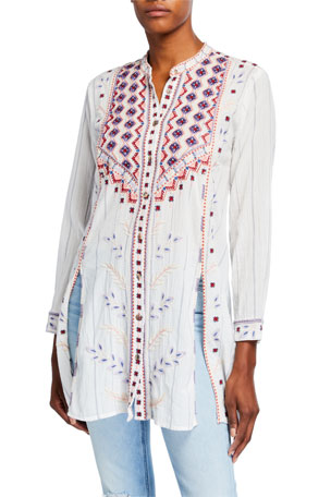 Johnny Was Amarynth High-Slit Embroidered Front Tunic