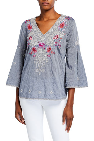 Johnny Was Caelynn V-Neck Swing-Sleeve Embroidered Top
