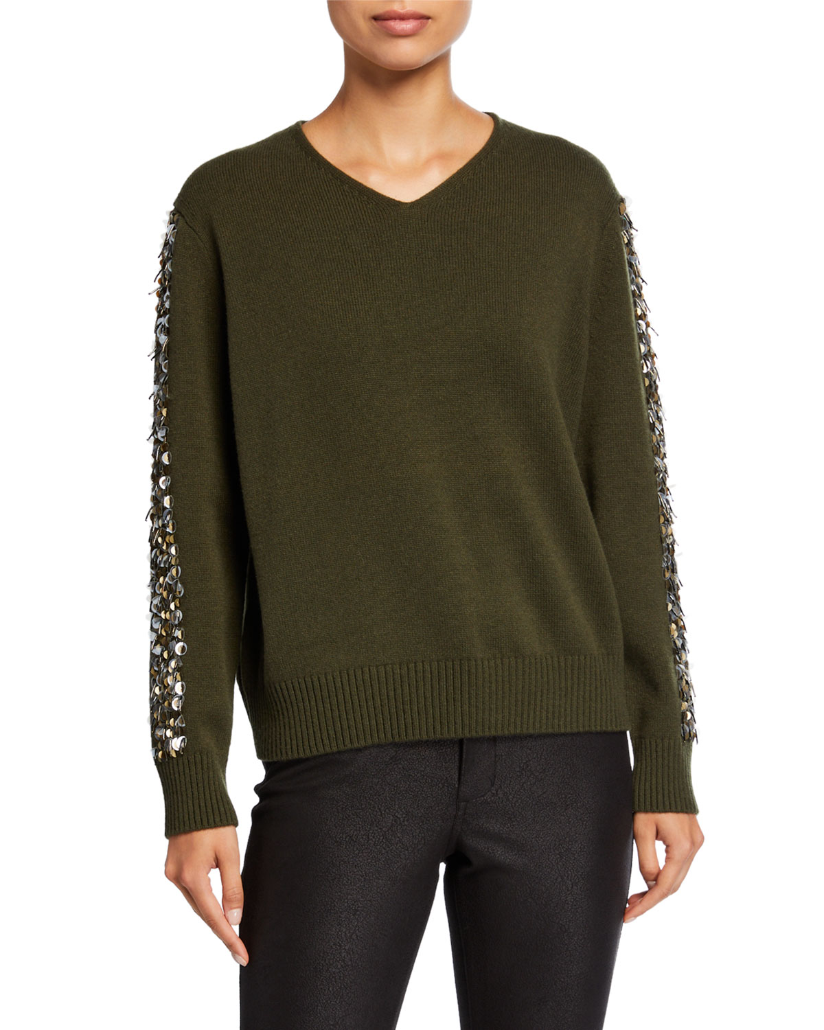 Cashmere V Neck Sweater With Sequins by Lafayette 148 New York