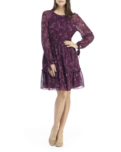 Floral Long-Sleeve Smocked Dress