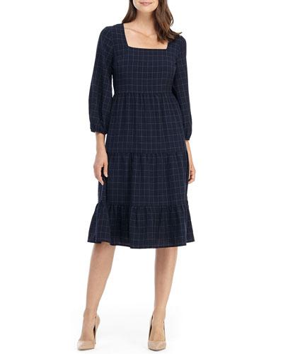 Windowpane Square-Neck 3/4-Sleeve Tiered Midi Dress