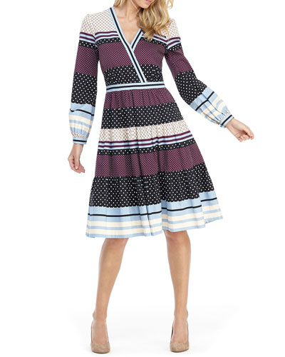 Striped 3 Tiered Fit-&-Flare Dress
