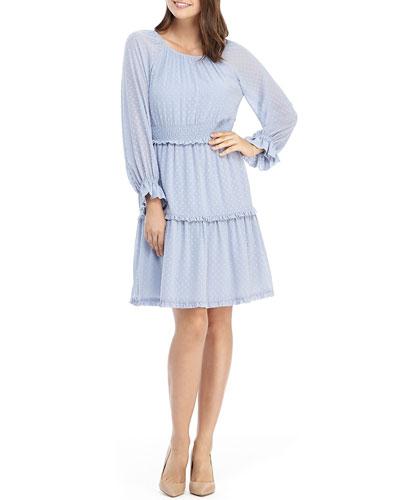 Clip Dot Shirred Fit-&-Flare Ruffle Dress