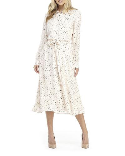 Printed Button-Down Collared A-Line Midi Dress