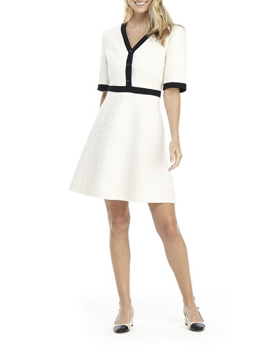 Elbow-Sleeve Contrast-Trim Fit-&-Flare Dress
