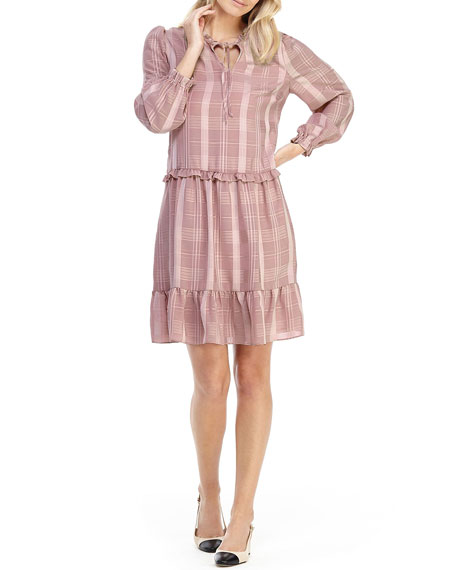 Gal Meets Glam Collection Check Swing Shift Ruffle Dress