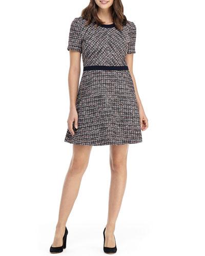 Jewel-Neck Tweed Fit-&-Flare Mini Dress