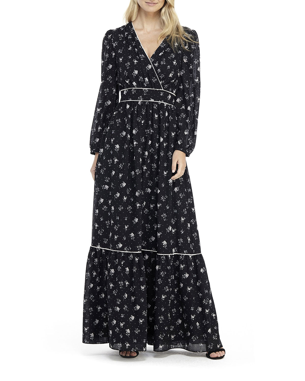 Gal Meets Glam Collection Printed Long-Sleeve Tiered Maxi Dress