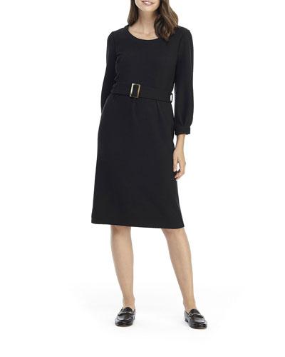 Long-Sleeve Belted Tube Dress