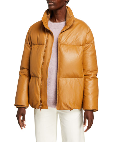 Vince Zip-Front Leather Puffer Jacket