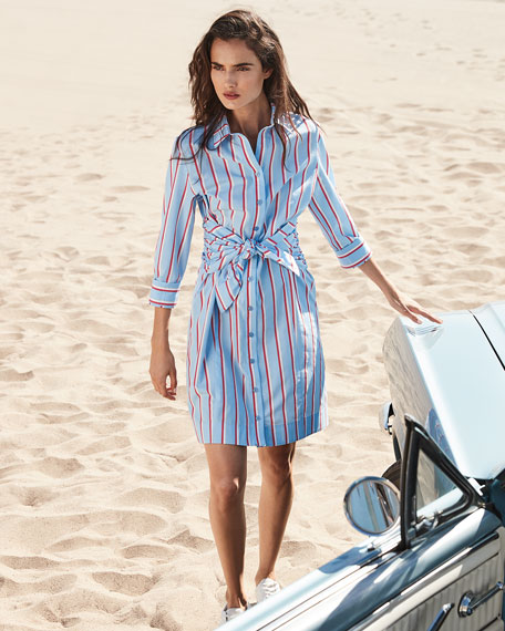 Image 2 of 3: Finley Ellis Sparkle Stripe Shirtdress