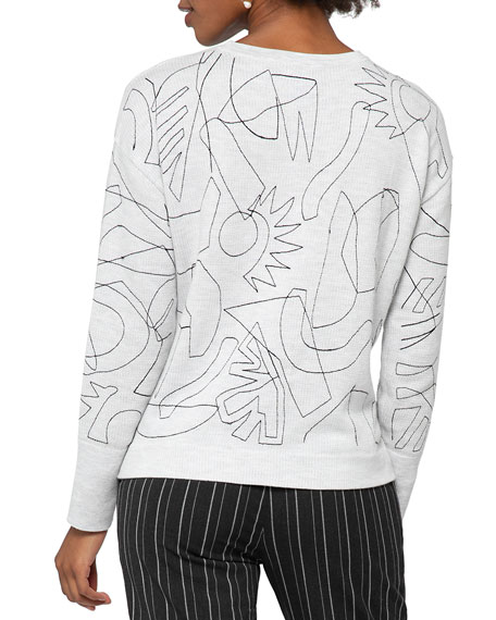 Image 4 of 5: NIC+ZOE Embroidered Long-Sleeve Sweater